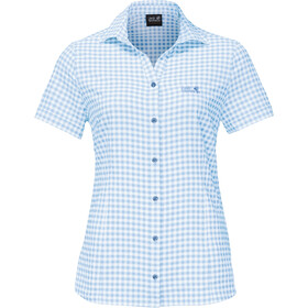 Jack Wolfskin Kepler Shirt Korte Mouwen Dames, ice blue checks